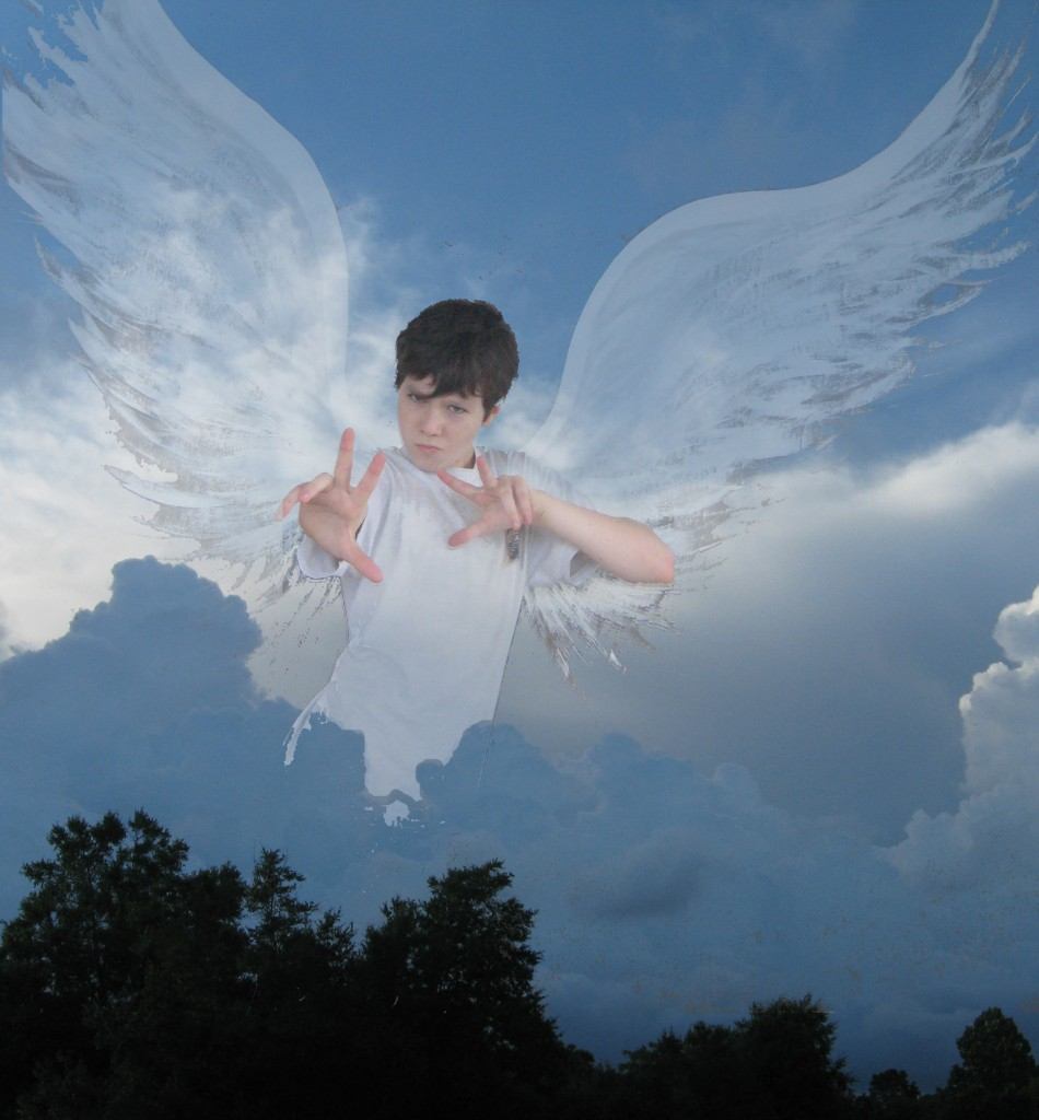 Speaking of angels... I couldn't resist sharing this photoshopped picture of one of my angels :D